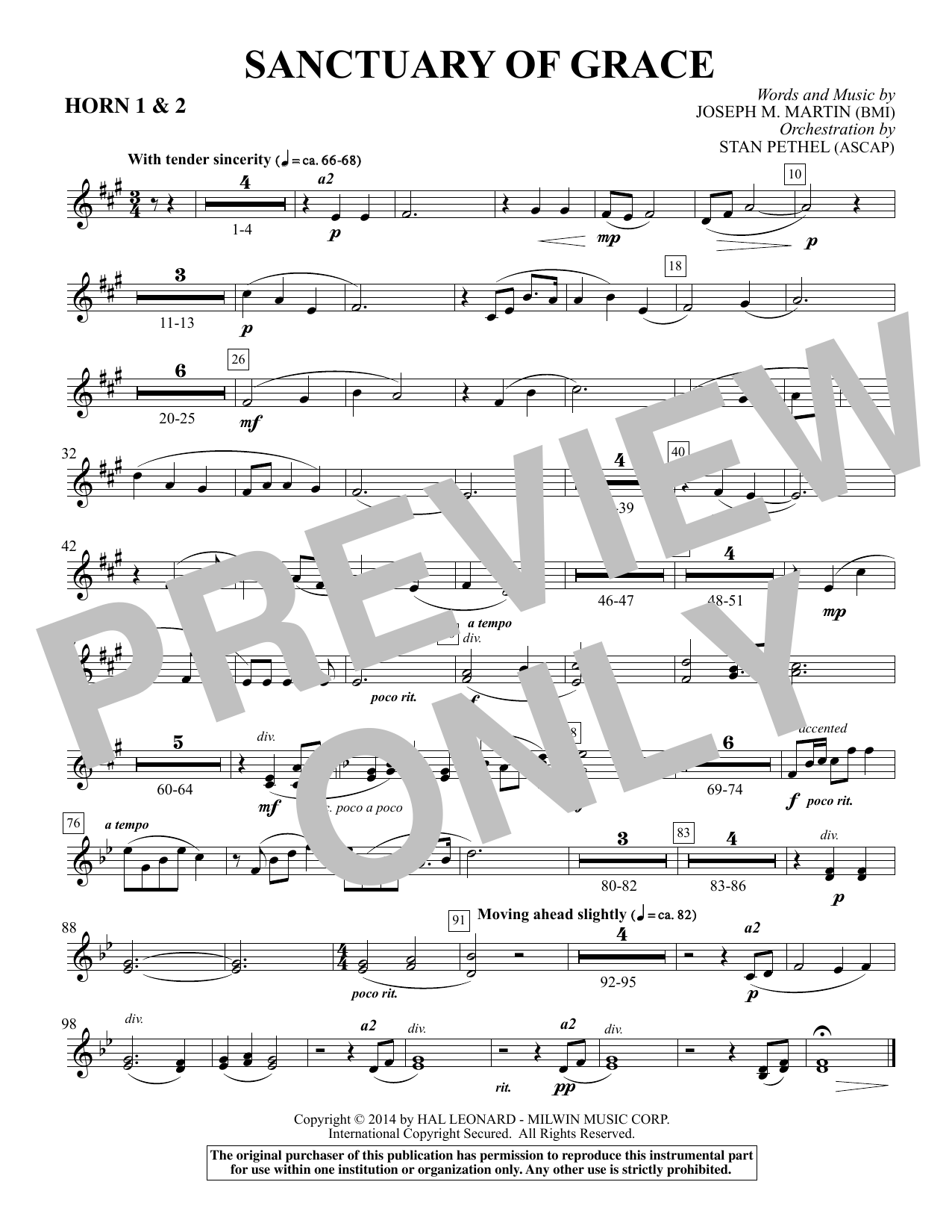 Joseph M. Martin Sanctuary Of Grace (from Sanctuary) - F Horn 1,2 sheet music notes and chords. Download Printable PDF.