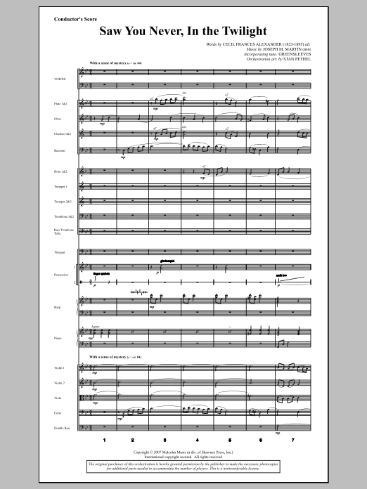 Joseph M. Martin Saw You Never, In The Twilight (from Season Of Wonders) - Score sheet music notes and chords. Download Printable PDF.