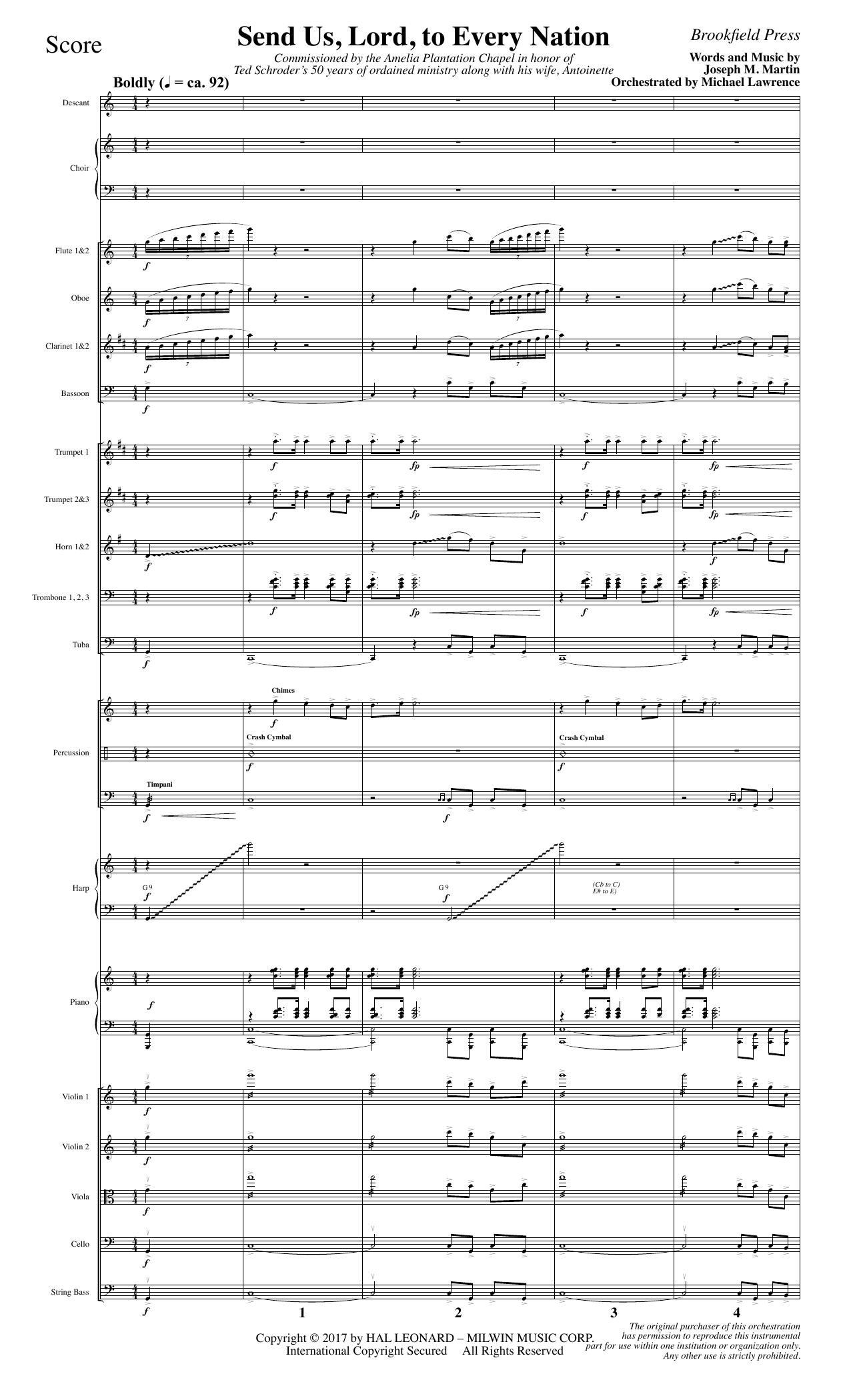 Joseph M. Martin Send Us, Lord, to Every Nation - Full Score sheet music notes and chords. Download Printable PDF.