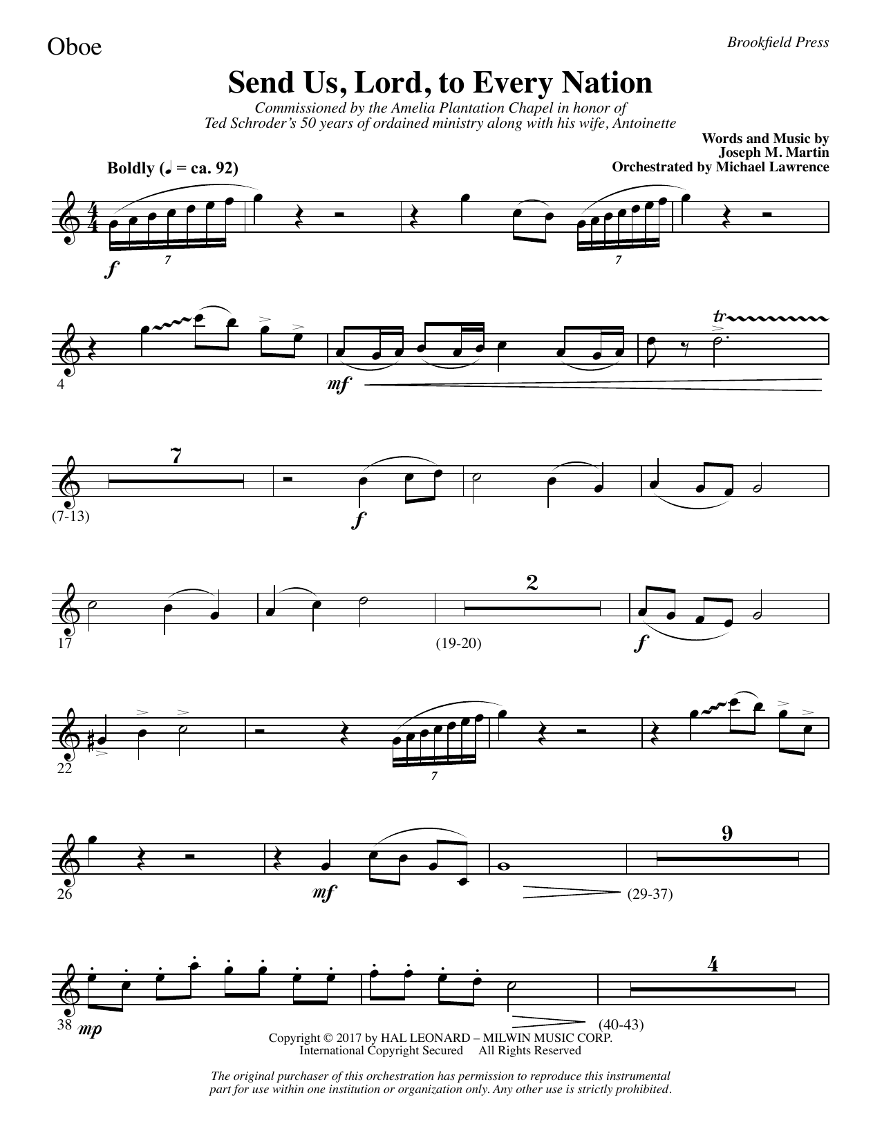 Joseph M. Martin Send Us, Lord, to Every Nation - Oboe sheet music notes and chords. Download Printable PDF.