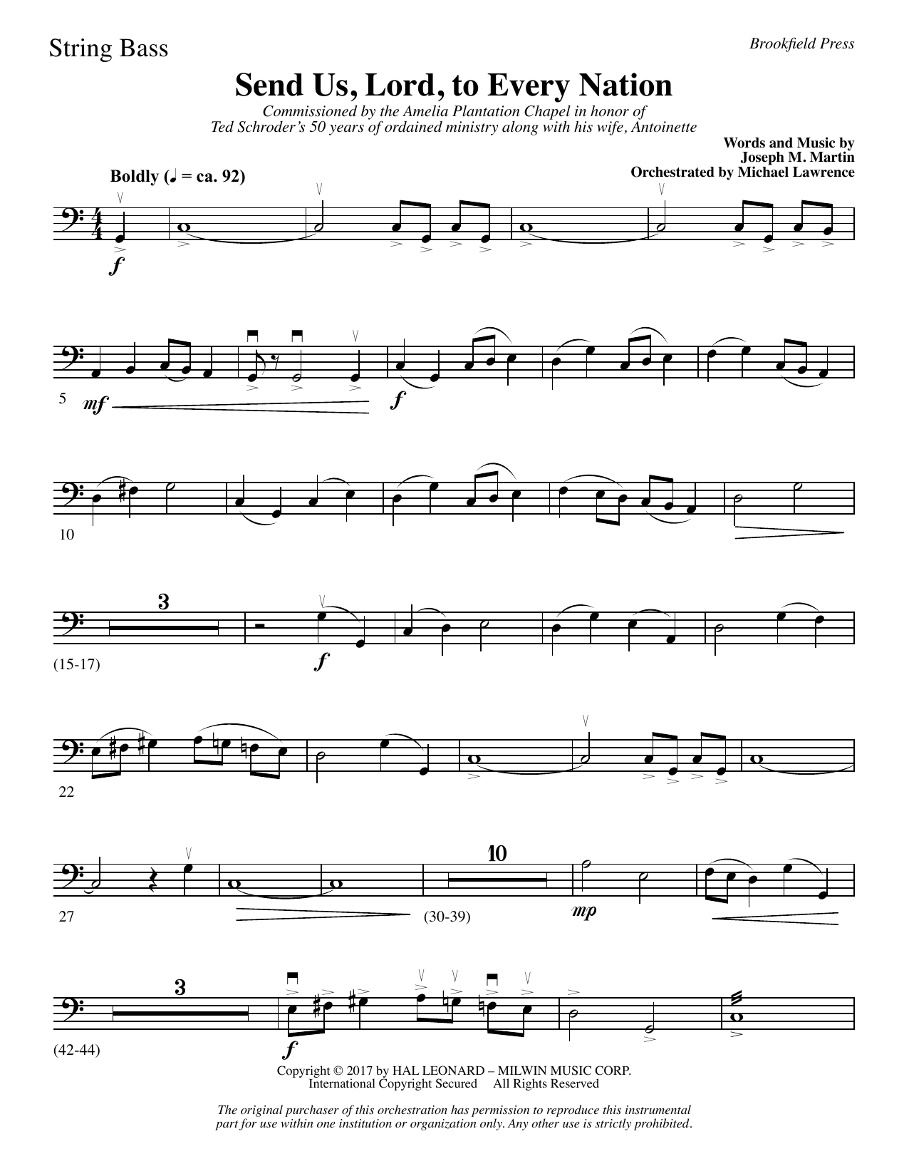 Joseph M. Martin Send Us, Lord, to Every Nation - String Bass sheet music notes and chords. Download Printable PDF.