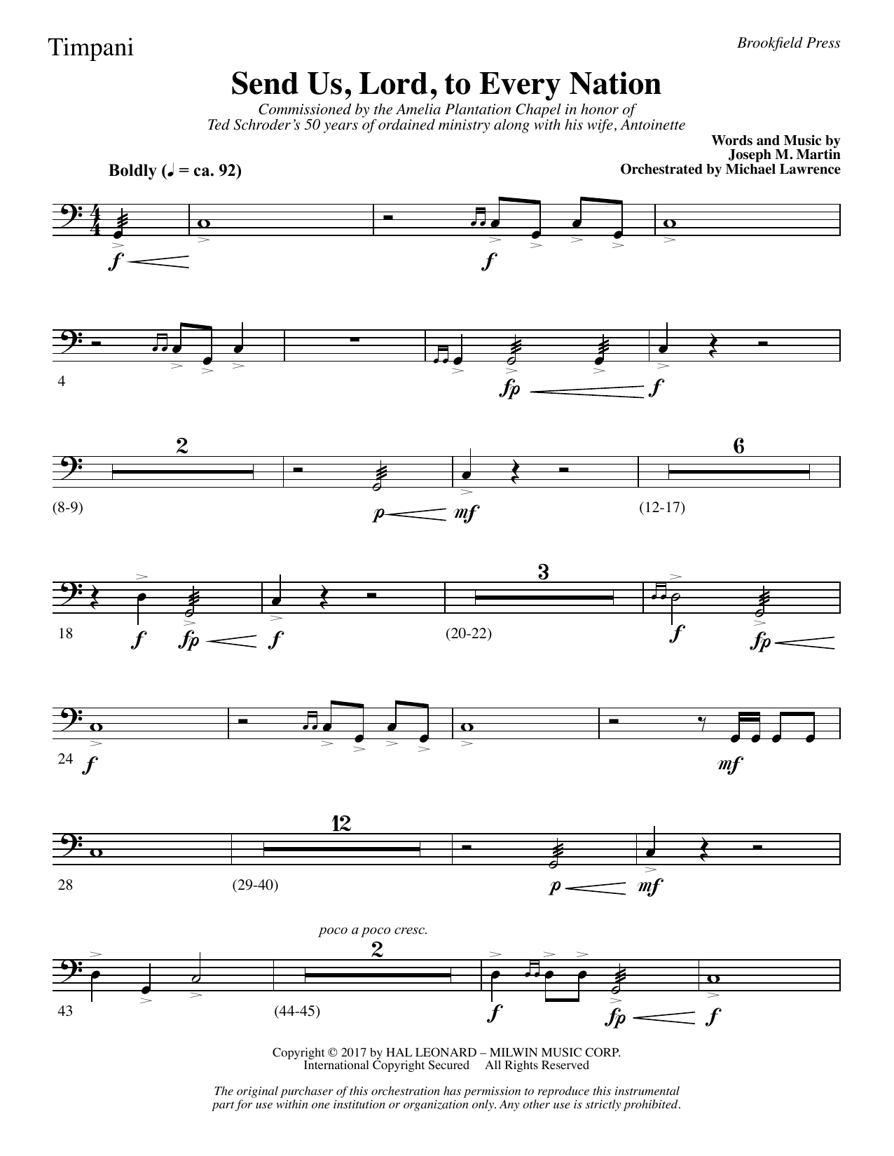 Joseph M. Martin Send Us, Lord, to Every Nation - Timpani sheet music notes and chords. Download Printable PDF.