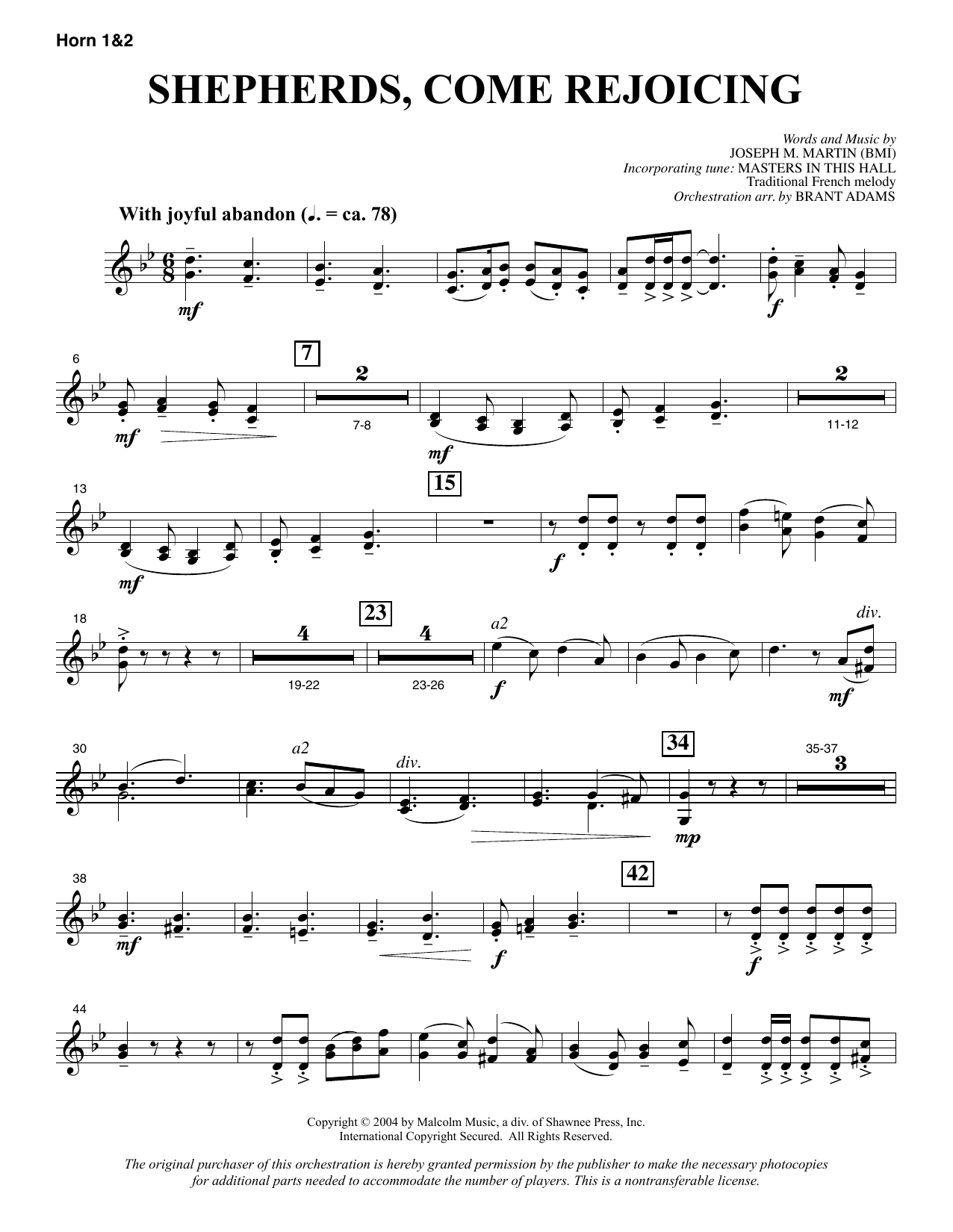 Joseph M. Martin Shepherds, Come Rejoicing (from Voices Of Christmas) - F Horn 1 & 2 sheet music notes and chords. Download Printable PDF.