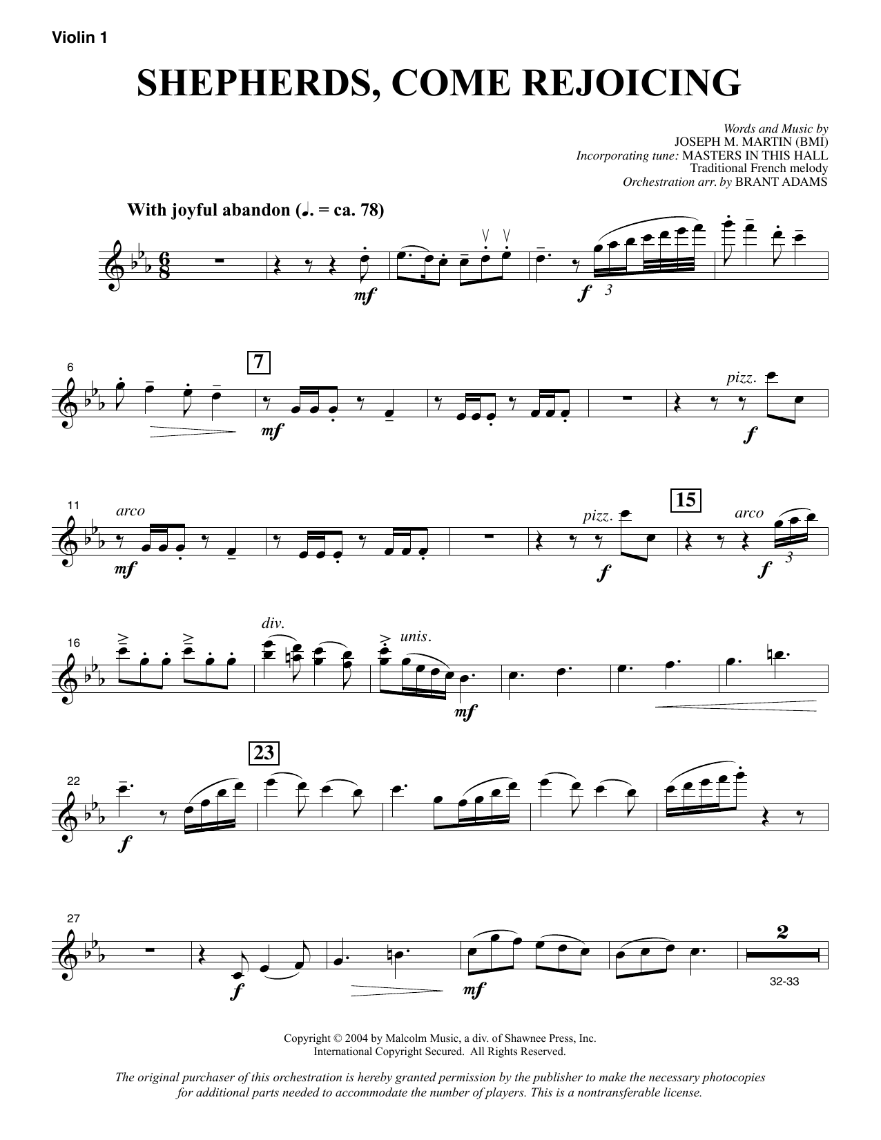 Joseph M. Martin Shepherds, Come Rejoicing (from Voices Of Christmas) - Violin 1 sheet music notes and chords. Download Printable PDF.