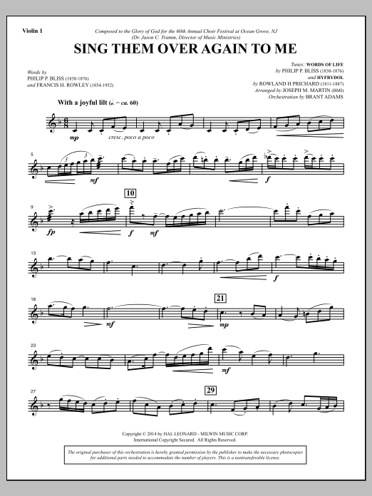 Joseph M. Martin Sing Them Over Again to Me - Violin 1 sheet music notes and chords. Download Printable PDF.