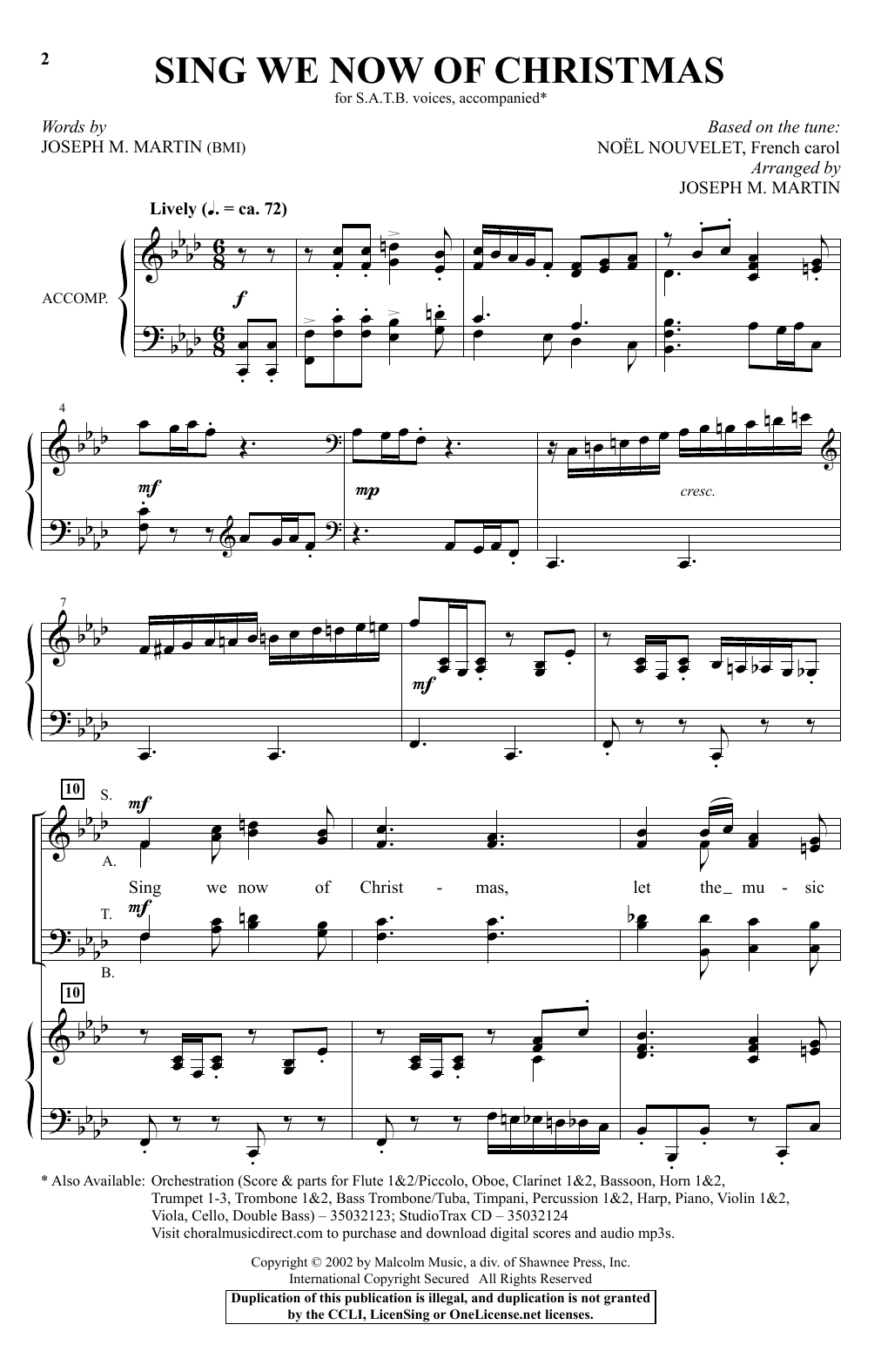 Joseph M. Martin Sing We Now Of Christmas sheet music notes and chords. Download Printable PDF.