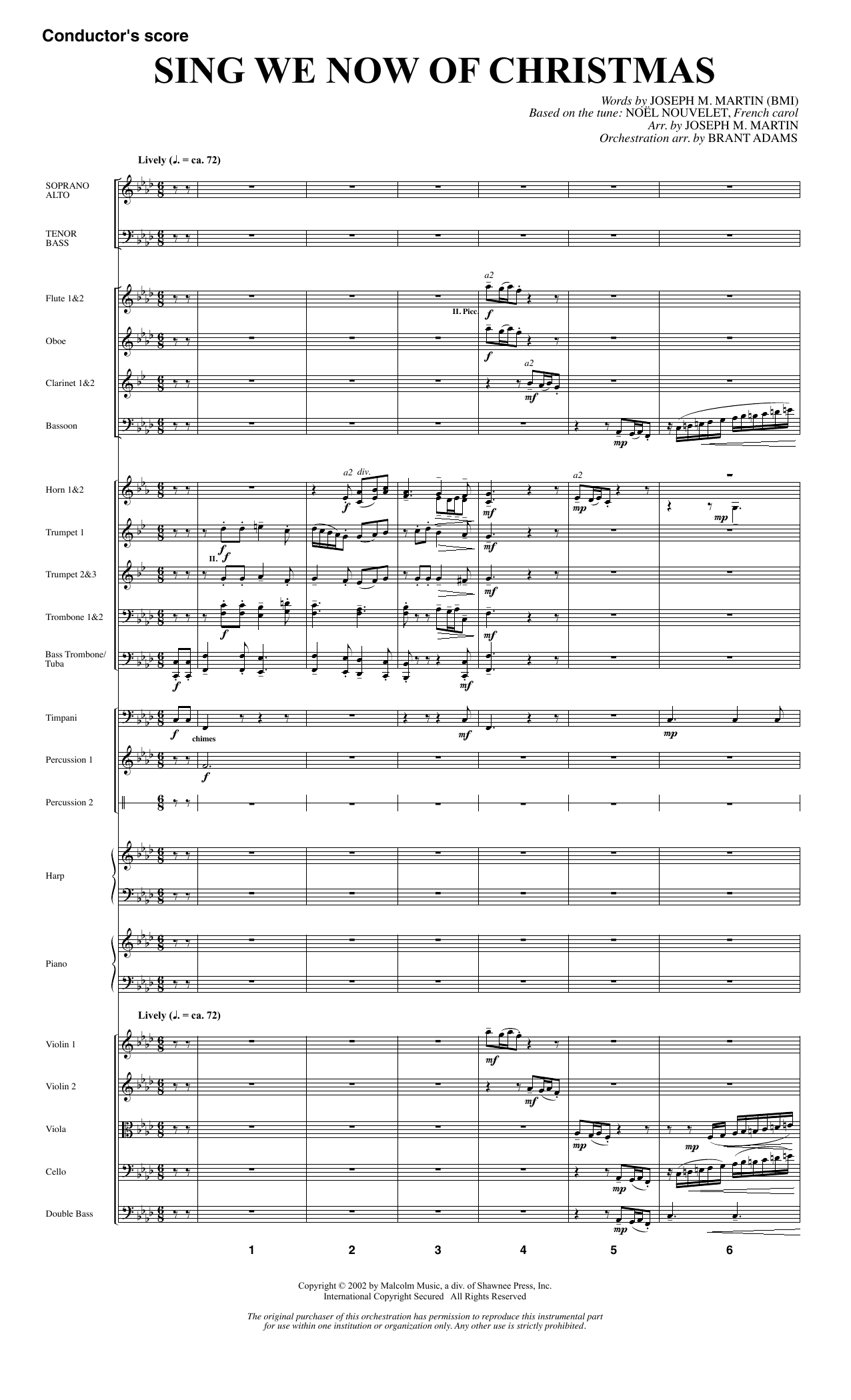 Joseph M. Martin Sing We Now Of Christmas (from Morning Star) - Full Score sheet music notes and chords. Download Printable PDF.