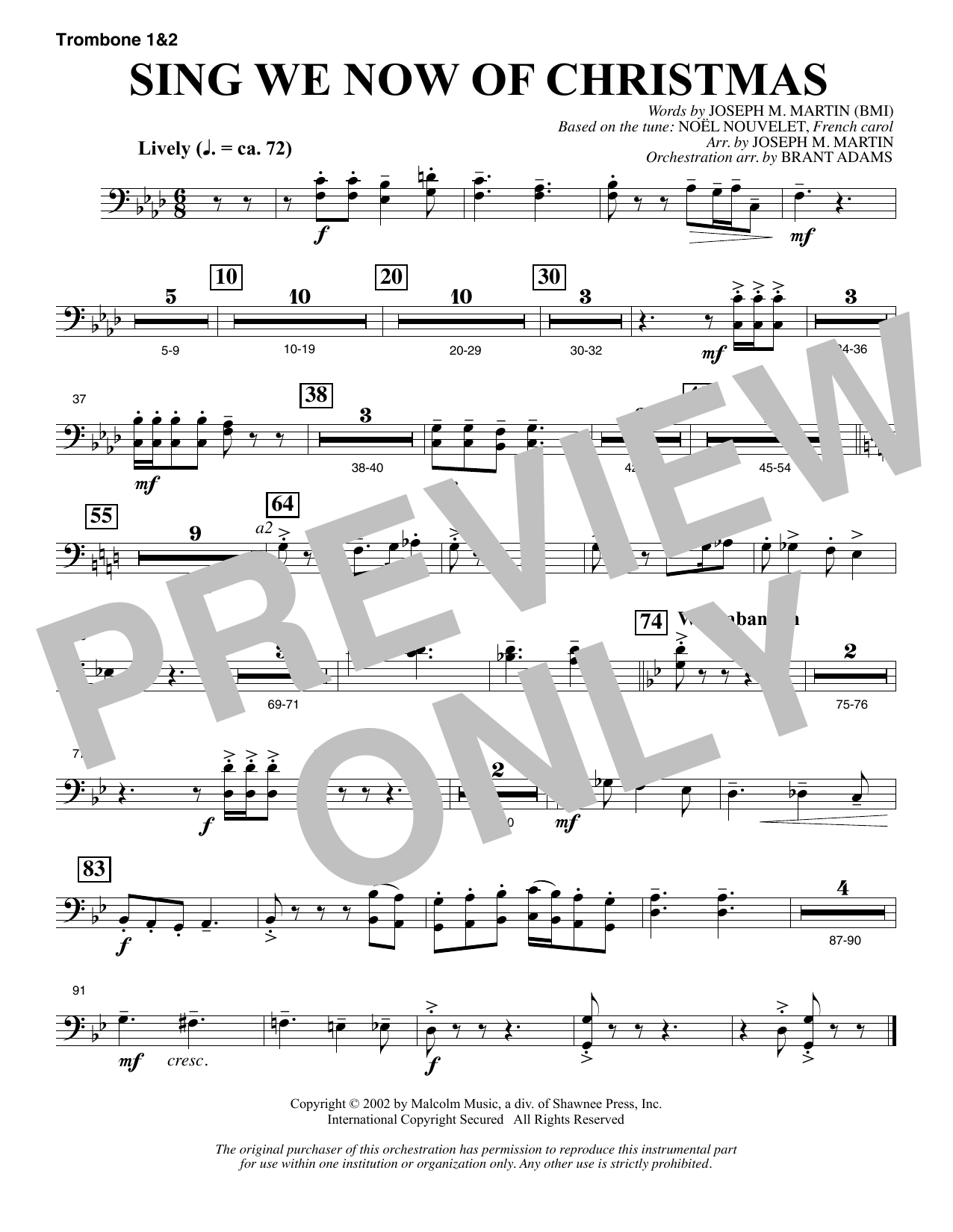 Joseph M. Martin Sing We Now Of Christmas (from Morning Star) - Trombone 1 & 2 sheet music notes and chords. Download Printable PDF.