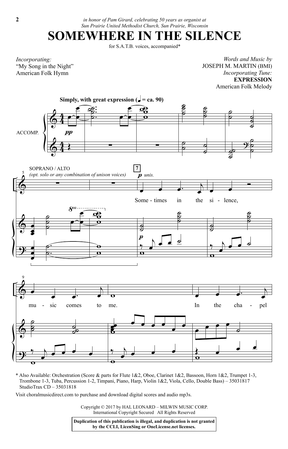 Joseph M. Martin Somewhere In The Silence sheet music notes and chords. Download Printable PDF.