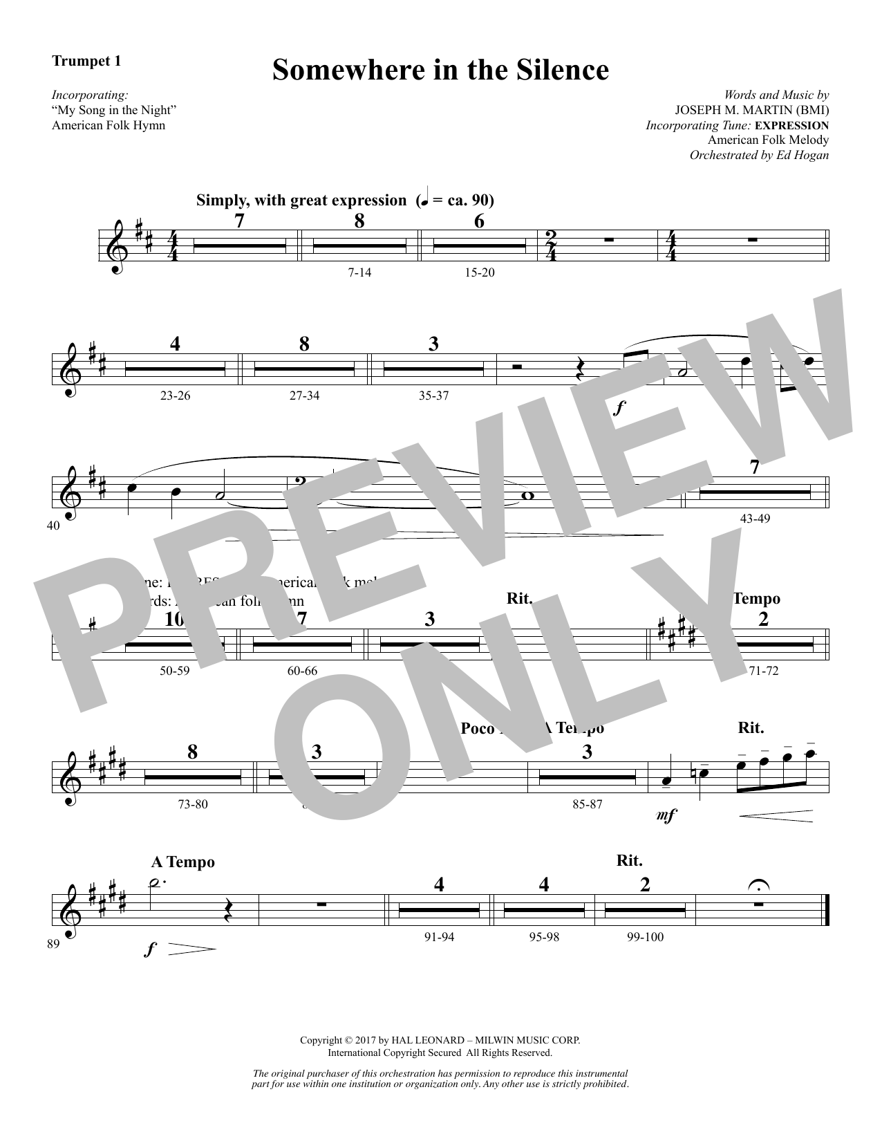 Joseph M. Martin Somewhere in the Silence - Bb Trumpet 1 sheet music notes and chords. Download Printable PDF.