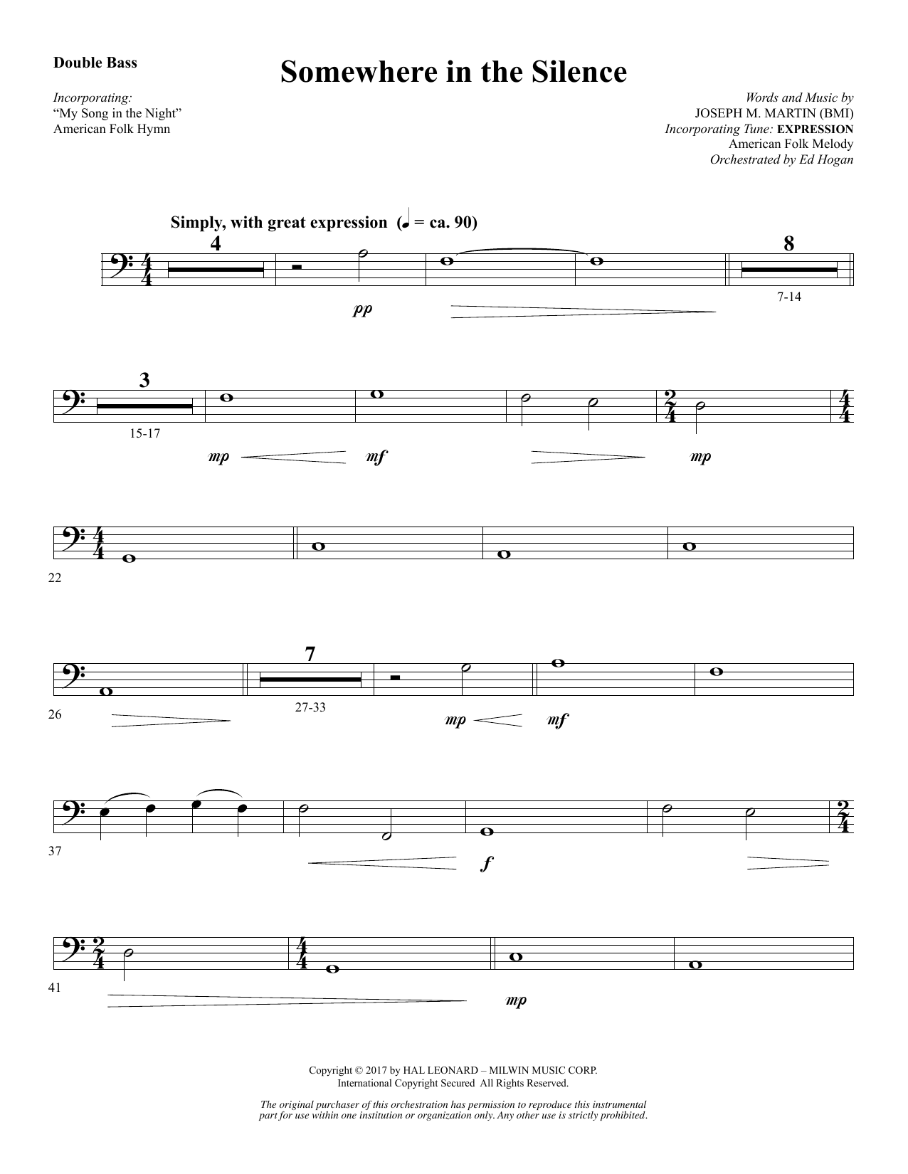 Joseph M. Martin Somewhere in the Silence - Double Bass sheet music notes and chords. Download Printable PDF.