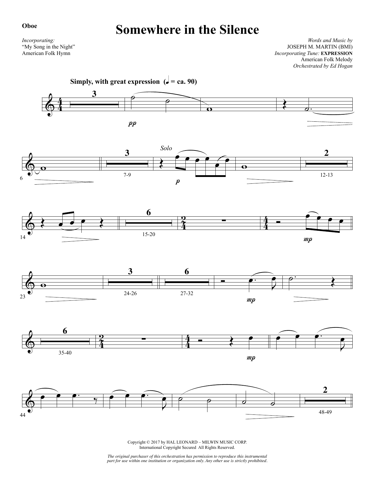 Joseph M. Martin Somewhere in the Silence - Oboe sheet music notes and chords. Download Printable PDF.