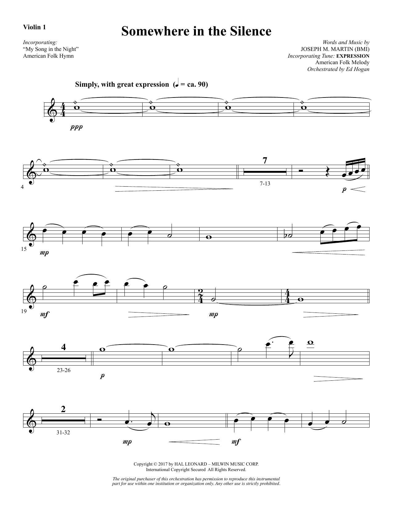 Joseph M. Martin Somewhere in the Silence - Violin 1 sheet music notes and chords. Download Printable PDF.