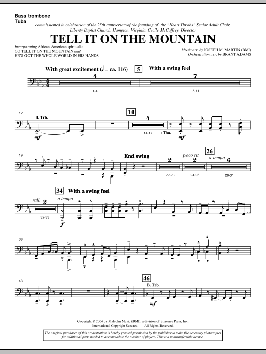 Joseph M. Martin Tell It On The Mountain (from A World Of Christmas) - Bass Trombone/Tuba sheet music notes and chords. Download Printable PDF.