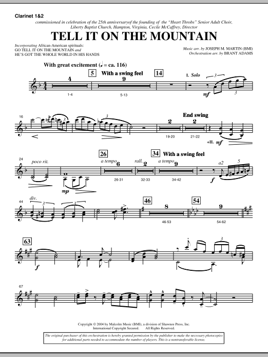 Joseph M. Martin Tell It On The Mountain (from A World Of Christmas) - Bb Clarinet 1,2 sheet music notes and chords. Download Printable PDF.