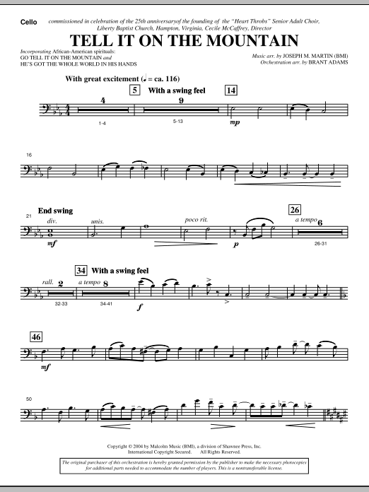 Joseph M. Martin Tell It On The Mountain (from A World Of Christmas) - Cello sheet music notes and chords. Download Printable PDF.