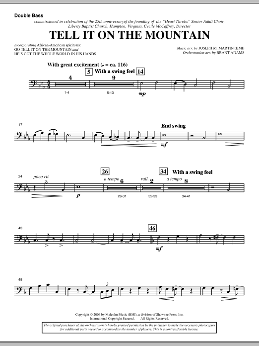 Joseph M. Martin Tell It On The Mountain (from A World Of Christmas) - Double Bass sheet music notes and chords. Download Printable PDF.