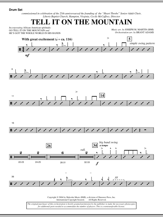 Joseph M. Martin Tell It On The Mountain (from A World Of Christmas) - Drum Set sheet music notes and chords. Download Printable PDF.