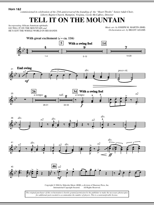 Joseph M. Martin Tell It On The Mountain (from A World Of Christmas) - F Horn 1,2 sheet music notes and chords. Download Printable PDF.