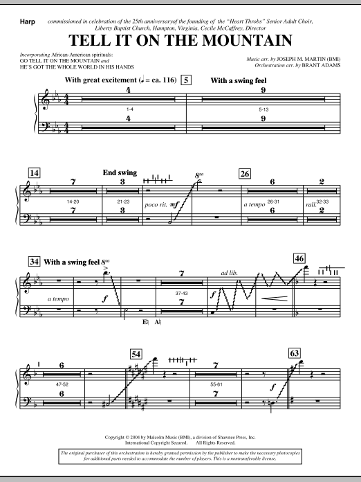 Joseph M. Martin Tell It On The Mountain (from A World Of Christmas) - Harp sheet music notes and chords. Download Printable PDF.