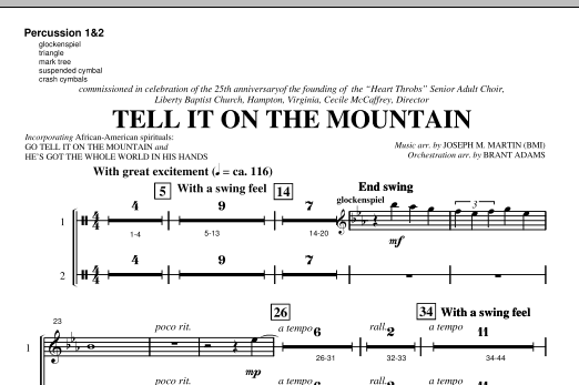 Joseph M. Martin Tell It On The Mountain (from A World Of Christmas) - Percussion 1 & 2 sheet music notes and chords. Download Printable PDF.