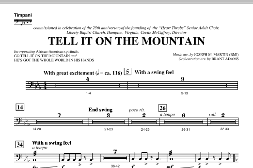 Joseph M. Martin Tell It On The Mountain (from A World Of Christmas) - Timpani sheet music notes and chords. Download Printable PDF.