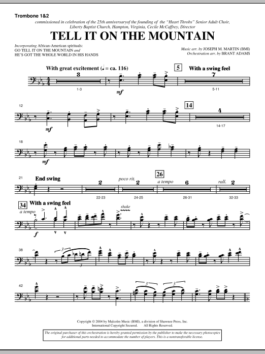 Joseph M. Martin Tell It On The Mountain (from A World Of Christmas) - Trombone 1 & 2 sheet music notes and chords. Download Printable PDF.