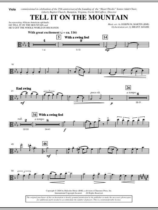 Joseph M. Martin Tell It On The Mountain (from A World Of Christmas) - Viola sheet music notes and chords. Download Printable PDF.