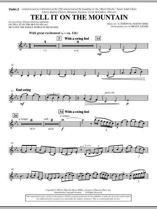 Joseph M. Martin Tell It On The Mountain (from A World Of Christmas) - Violin 2 sheet music notes and chords. Download Printable PDF.