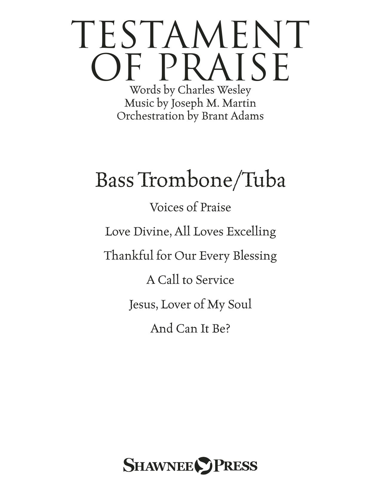 Joseph M. Martin Testament of Praise (A Celebration of Faith) - Bass Trombone/Tuba sheet music notes and chords. Download Printable PDF.