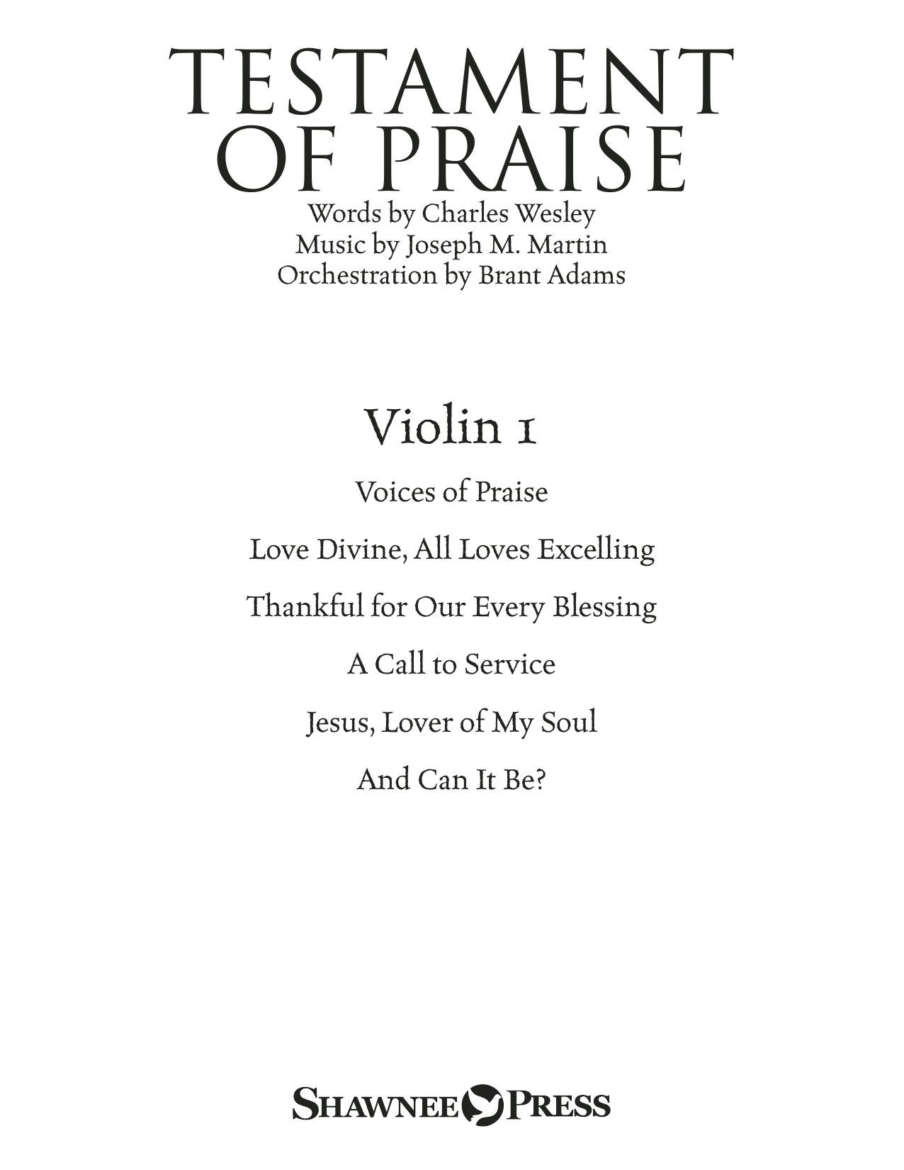 Joseph M. Martin Testament of Praise (A Celebration of Faith) - Violin 1 sheet music notes and chords. Download Printable PDF.