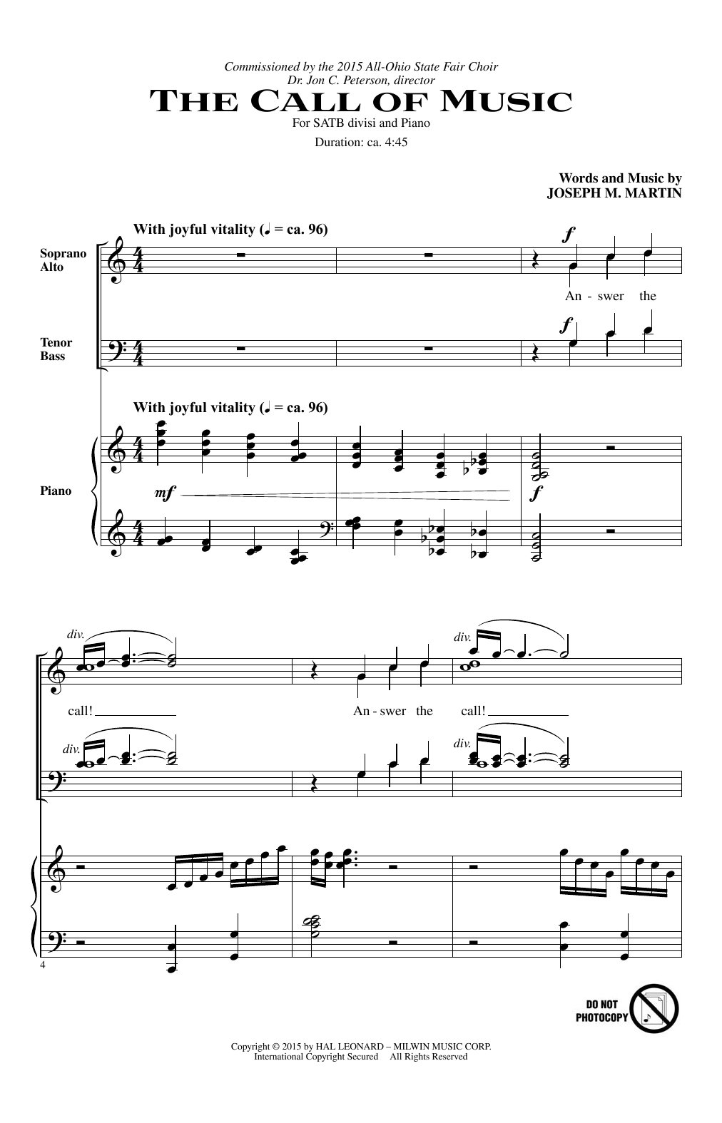 Joseph M. Martin The Call Of Music sheet music notes and chords. Download Printable PDF.