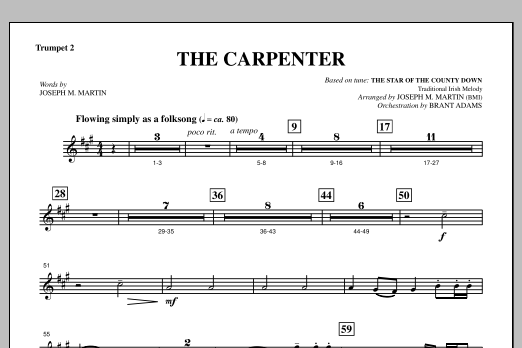 Joseph M. Martin The Carpenter (from Canticle Of The Cross) - Bb Trumpet 2 sheet music notes and chords. Download Printable PDF.