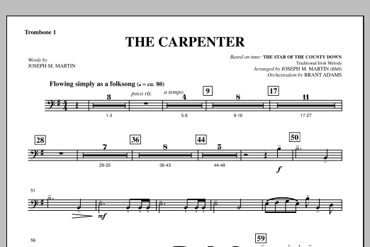 Joseph M. Martin The Carpenter (from Canticle Of The Cross) - Trombone 1 sheet music notes and chords. Download Printable PDF.