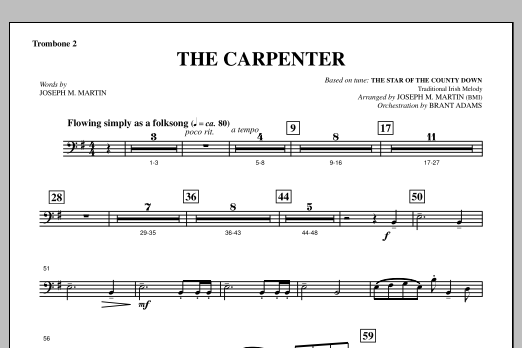 Joseph M. Martin The Carpenter (from Canticle Of The Cross) - Trombone 2 sheet music notes and chords. Download Printable PDF.