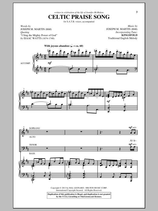 Joseph M. Martin The Celtic Choir sheet music notes and chords. Download Printable PDF.