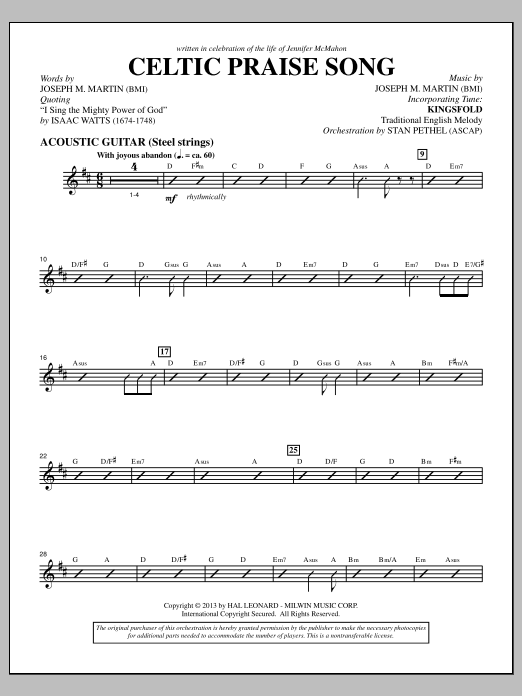 Joseph M. Martin The Celtic Choir - Acoustic Guitar sheet music notes and chords. Download Printable PDF.