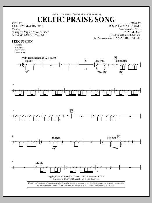 Joseph M. Martin The Celtic Choir - Percussion sheet music notes and chords. Download Printable PDF.