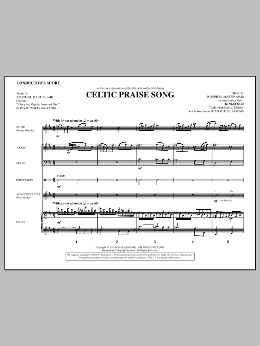 Joseph M. Martin The Celtic Choir - Score sheet music notes and chords. Download Printable PDF.