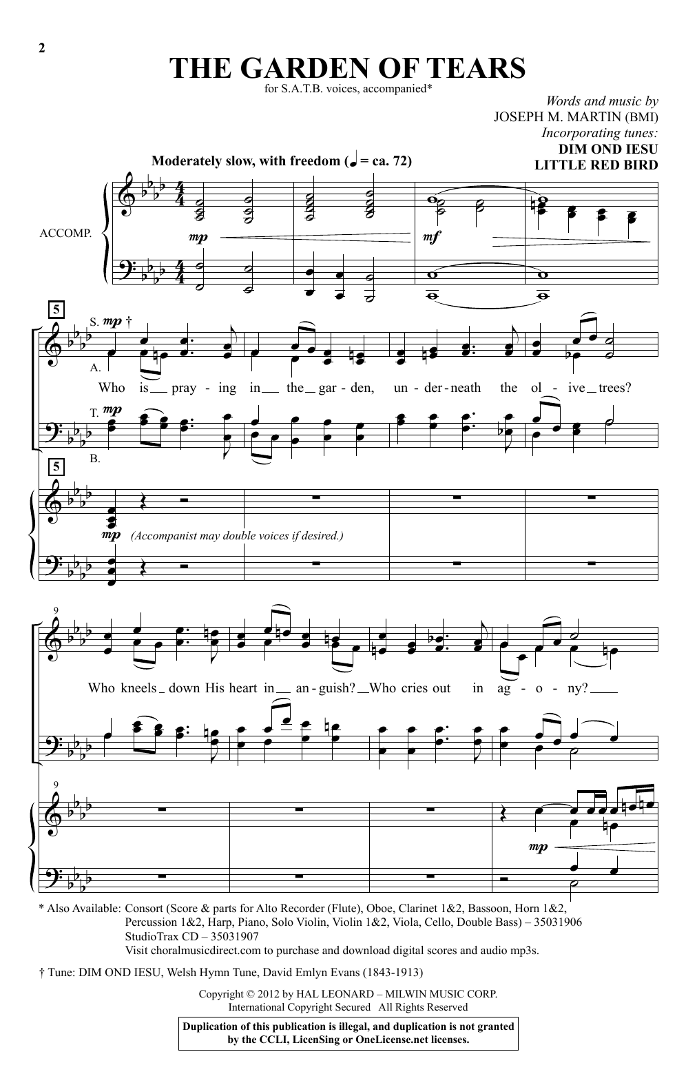 Joseph M. Martin The Garden Of Tears sheet music notes and chords. Download Printable PDF.