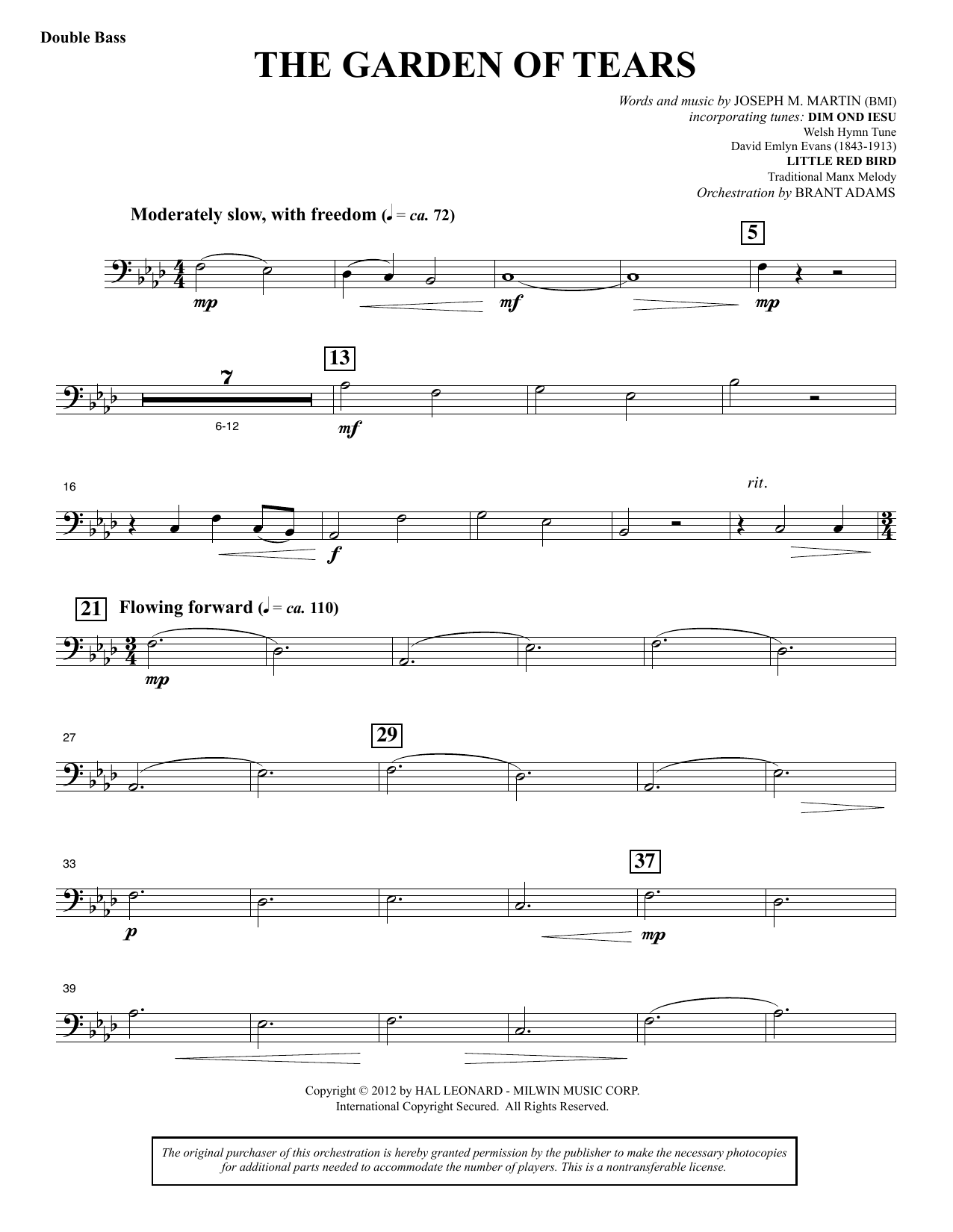 Joseph M. Martin The Garden of Tears - Double Bass sheet music notes and chords. Download Printable PDF.