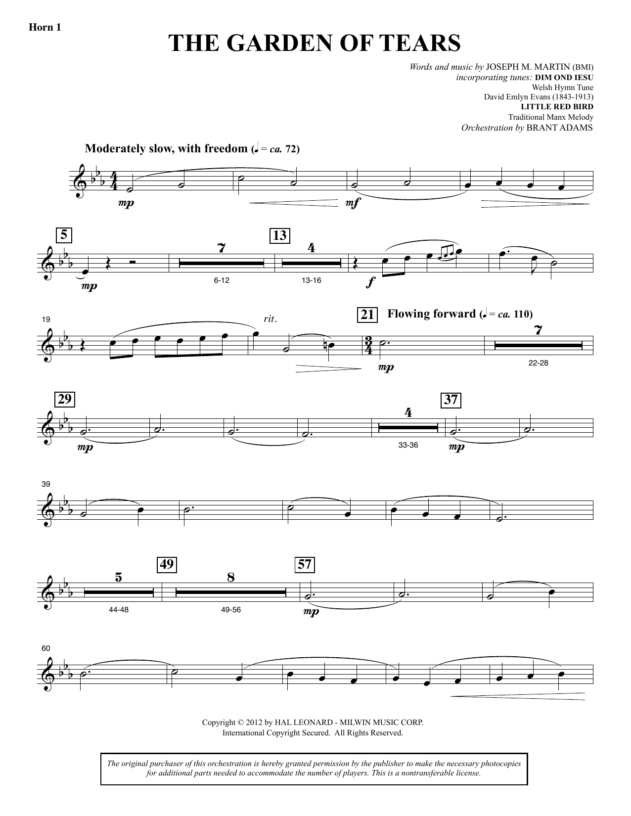 Joseph M. Martin The Garden of Tears - F Horn 1 sheet music notes and chords. Download Printable PDF.