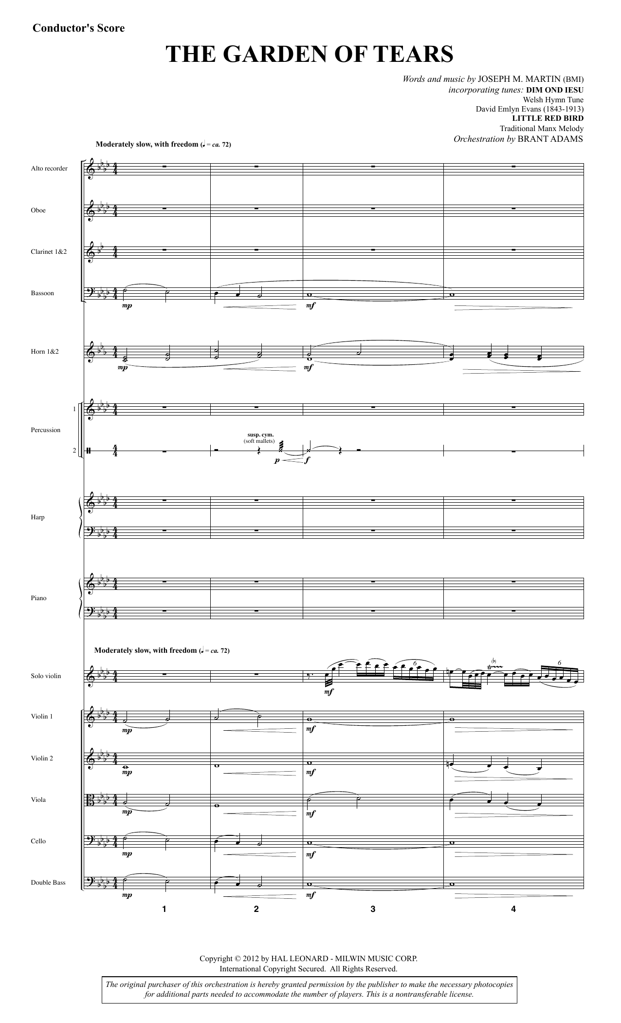 Joseph M. Martin The Garden of Tears - Full Score sheet music notes and chords. Download Printable PDF.