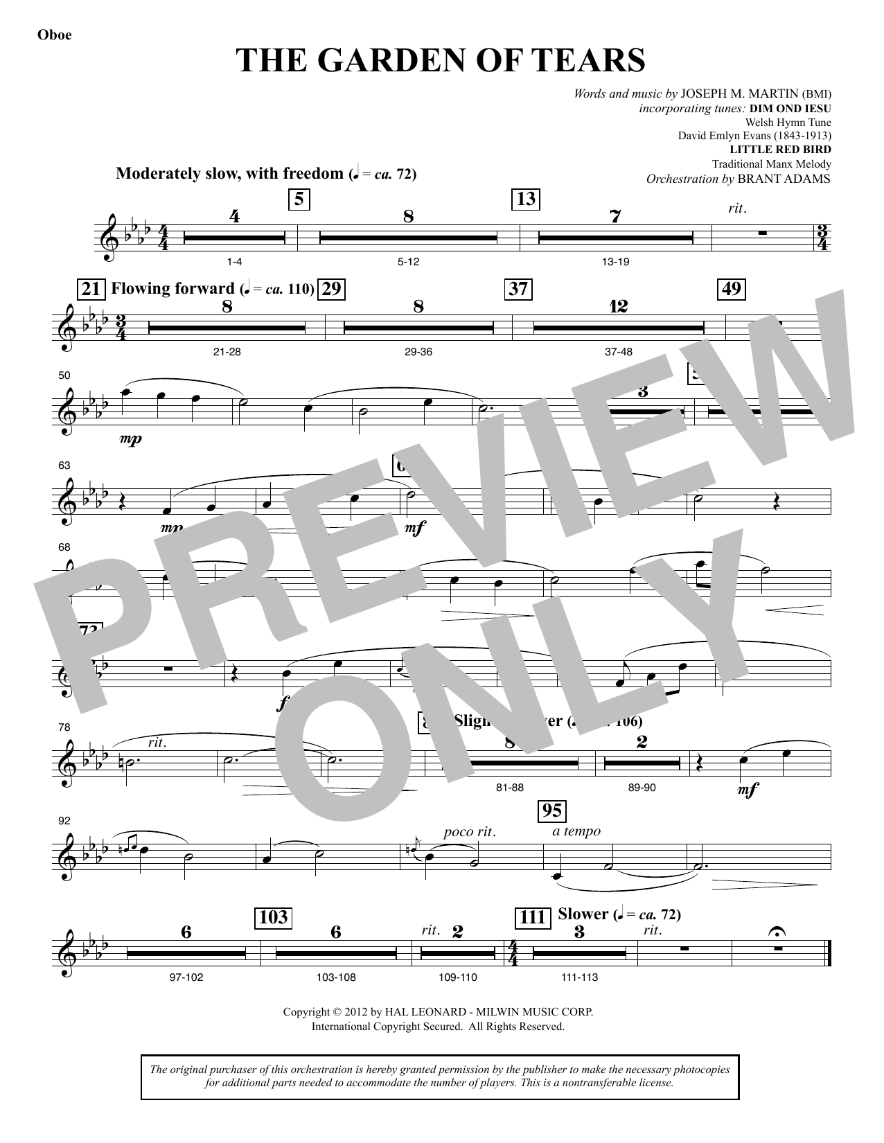 Joseph M. Martin The Garden of Tears - Oboe sheet music notes and chords. Download Printable PDF.