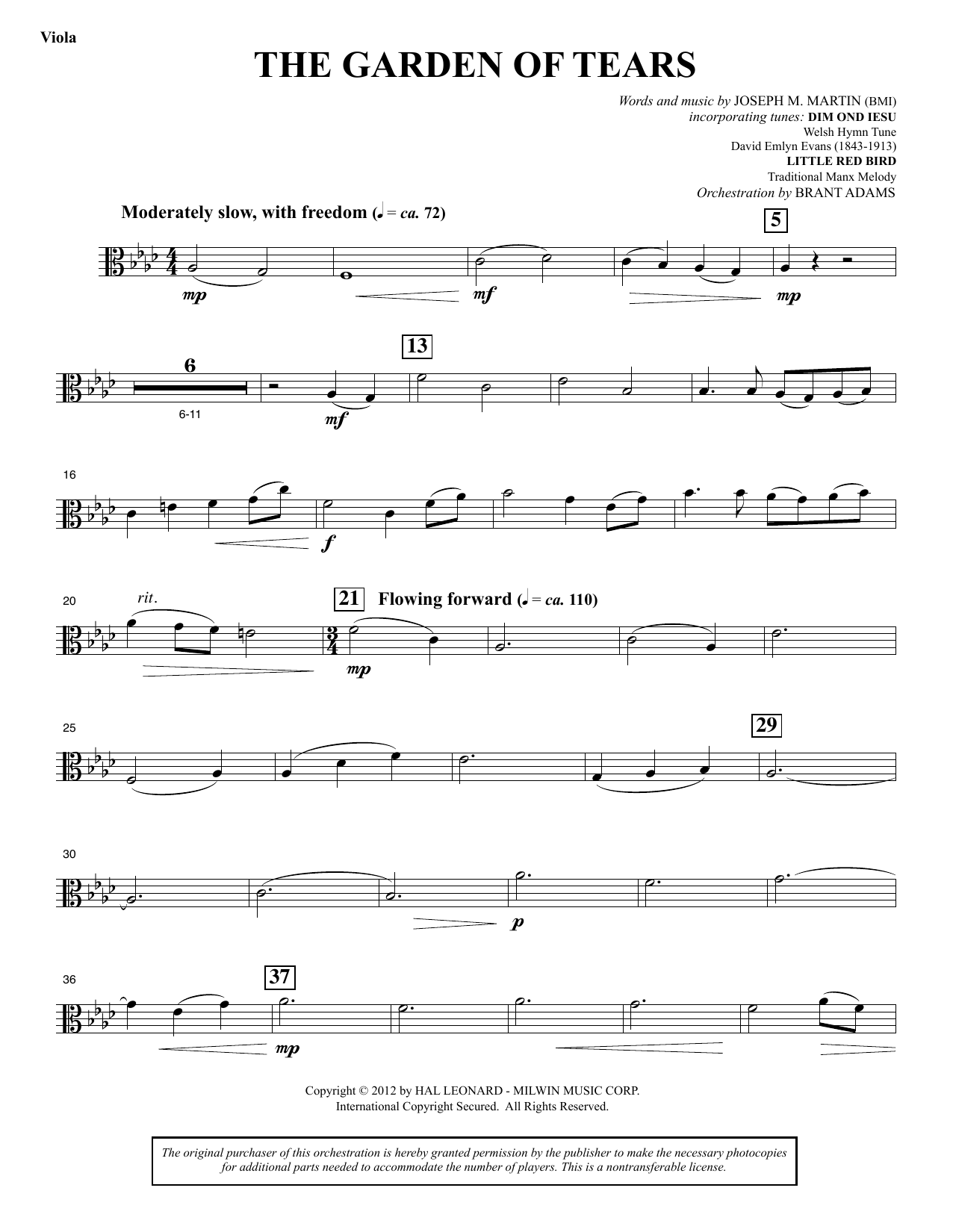 Joseph M. Martin The Garden of Tears - Viola sheet music notes and chords. Download Printable PDF.