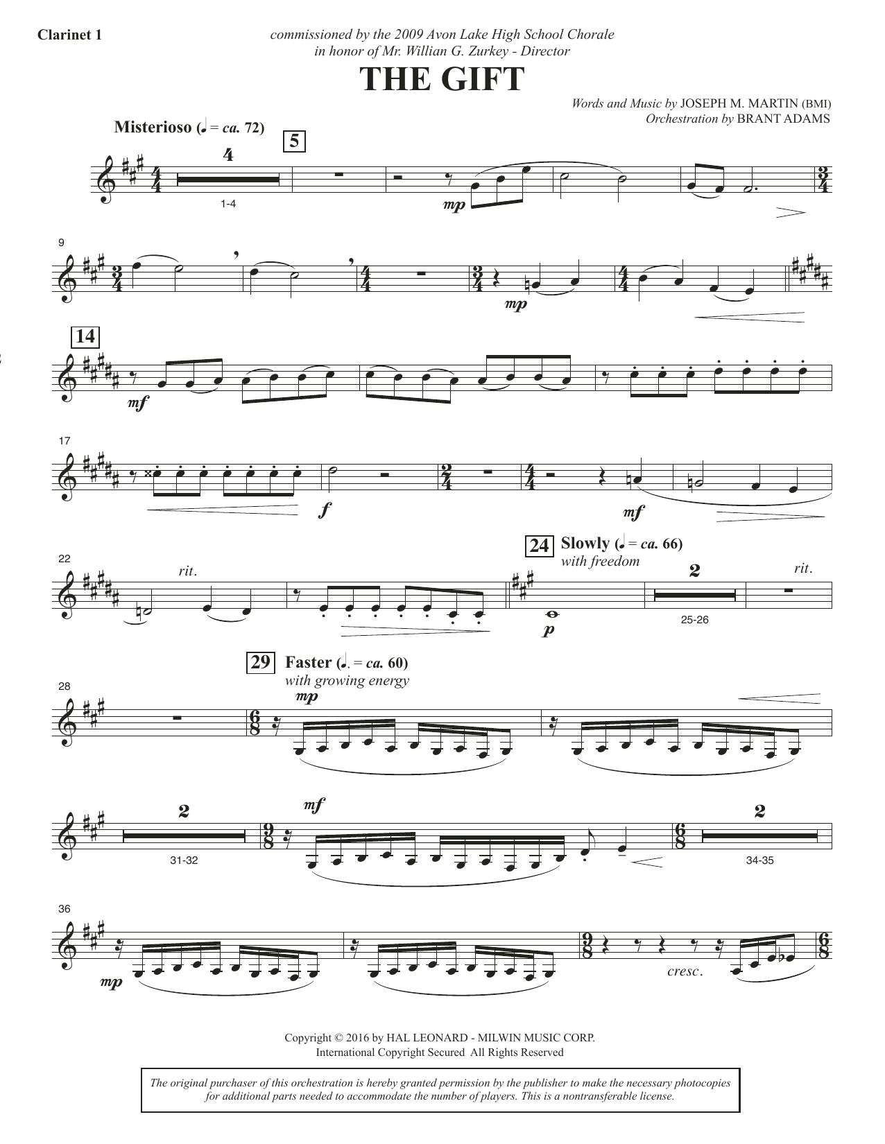 Joseph M. Martin The Gift - Bb Clarinet 1 sheet music notes and chords. Download Printable PDF.