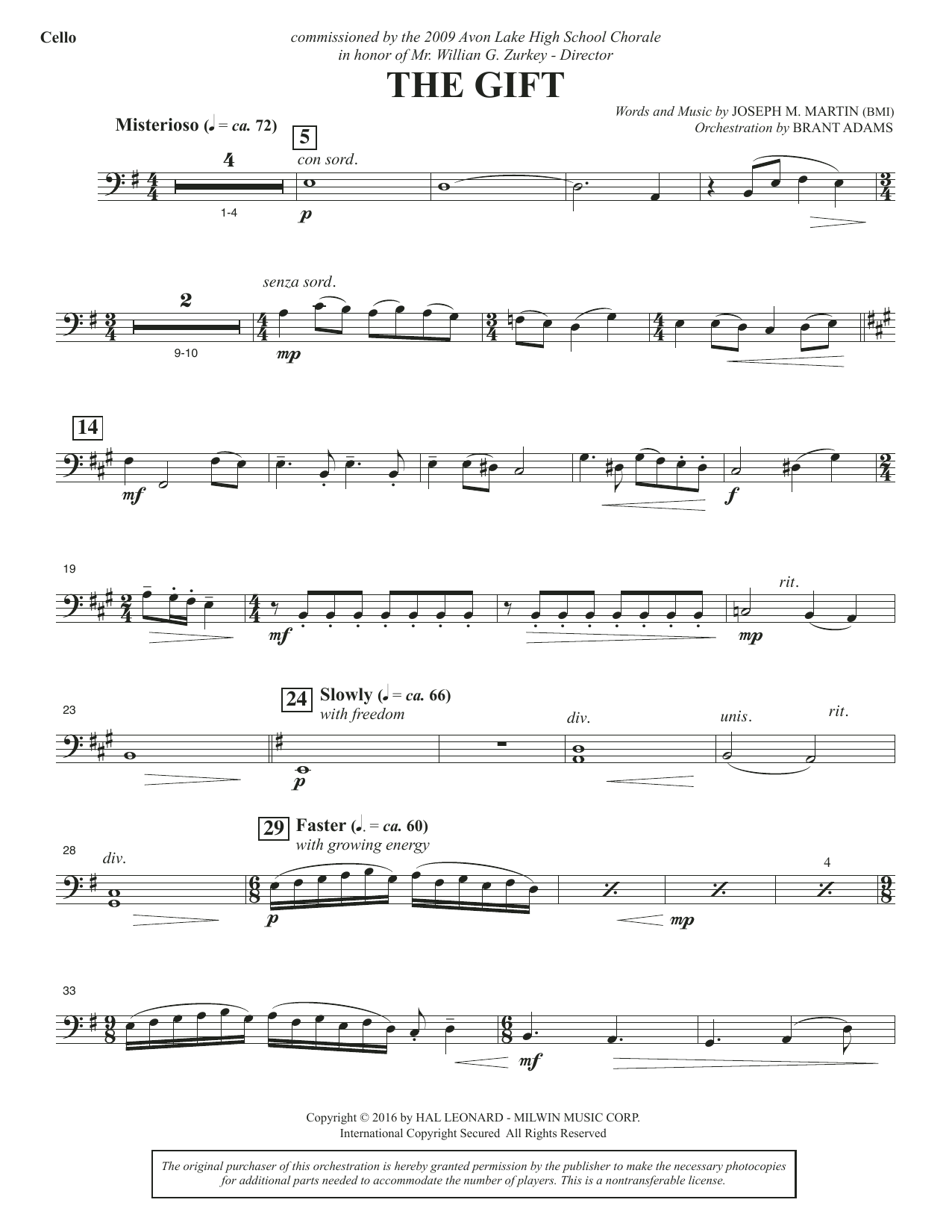 Joseph M. Martin The Gift - Cello sheet music notes and chords. Download Printable PDF.