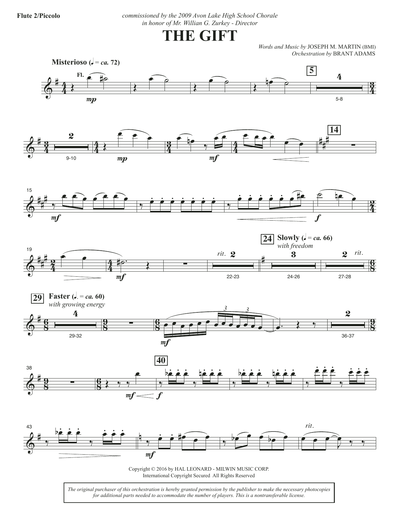 Joseph M. Martin The Gift - Flute 2 (Piccolo) sheet music notes and chords. Download Printable PDF.