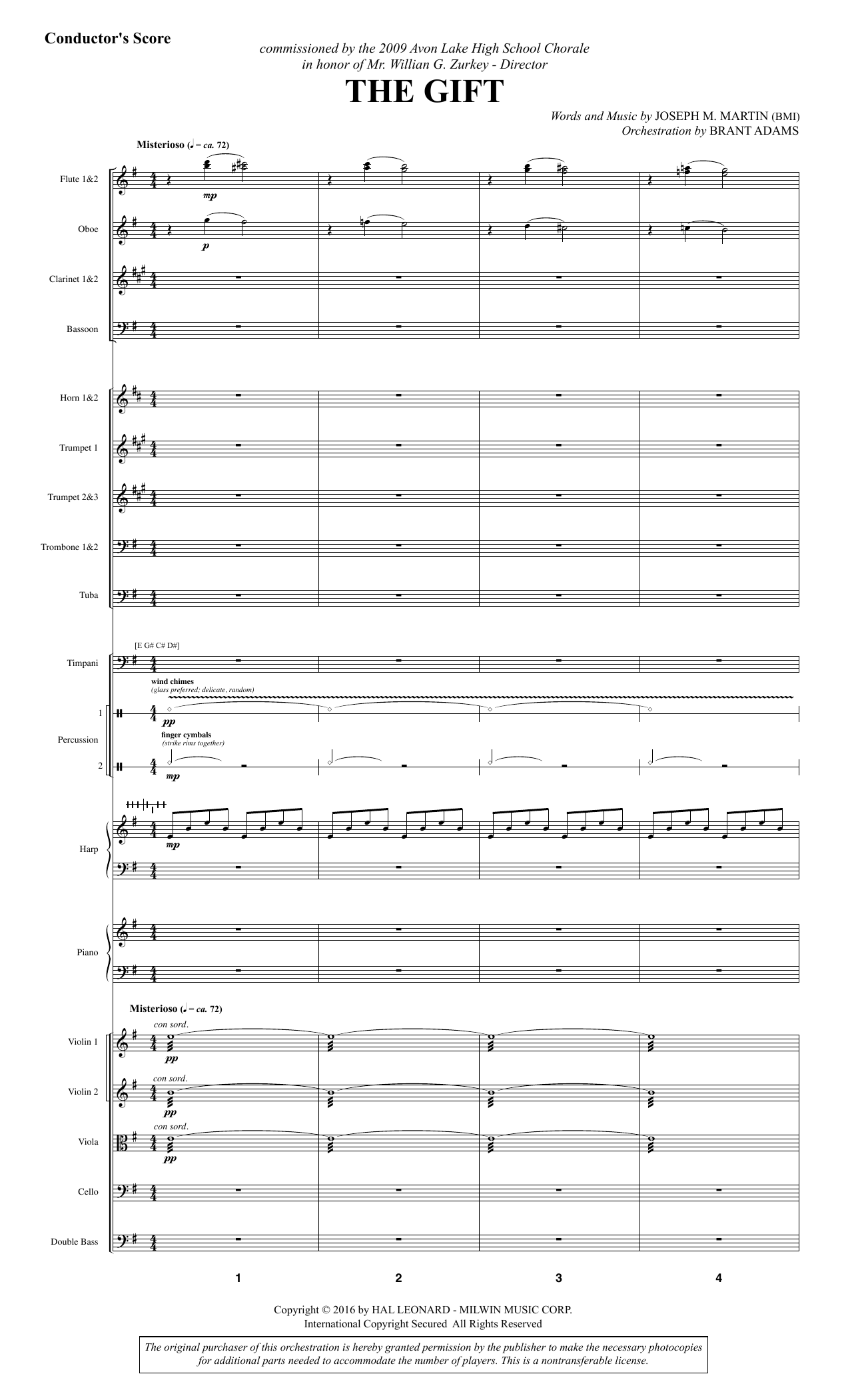 Joseph M. Martin The Gift - Full Score sheet music notes and chords. Download Printable PDF.