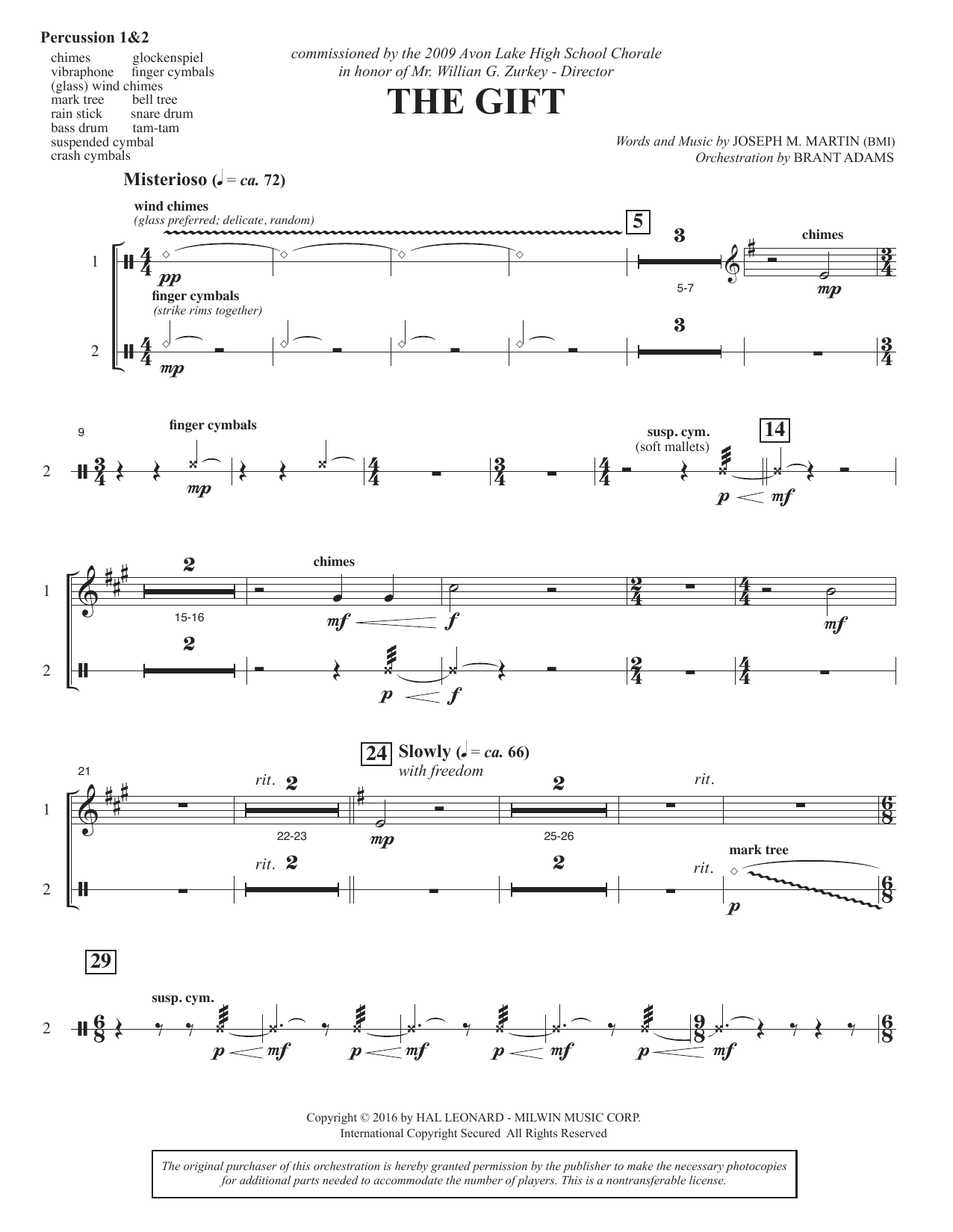 Joseph M. Martin The Gift - Percussion 1 & 2 sheet music notes and chords. Download Printable PDF.